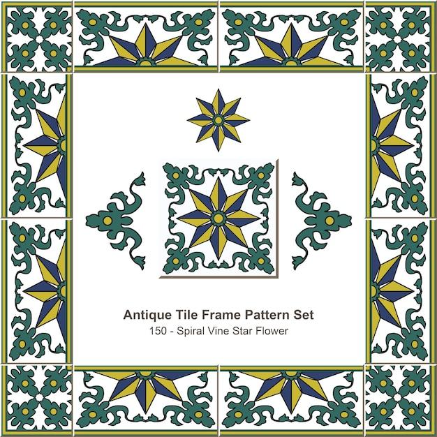アンティークタイルフレームパターンセット植物園スパイラルヴァインスターフラワー Premiumベクター