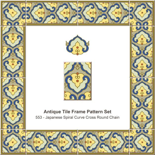 Antique tile frame pattern set japanese spiral curve cross round chain Premium Vector