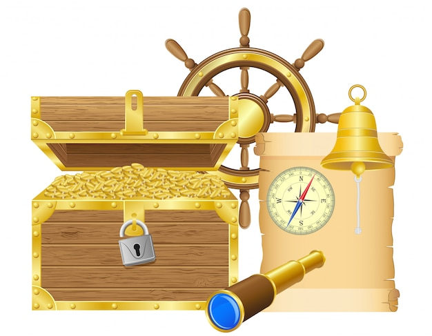 Antique treasure chest vector illustration Premium Vector