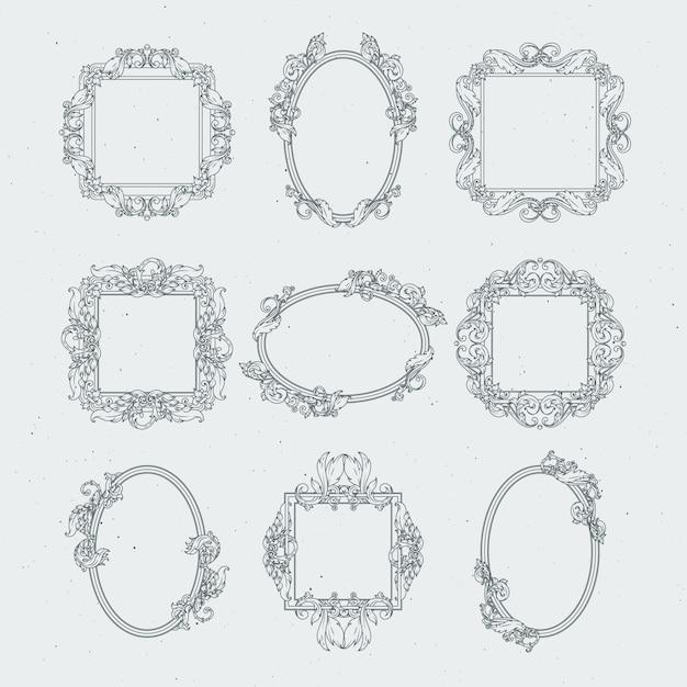 Antique victorian picture frames. vector set in baroque style Premium Vector