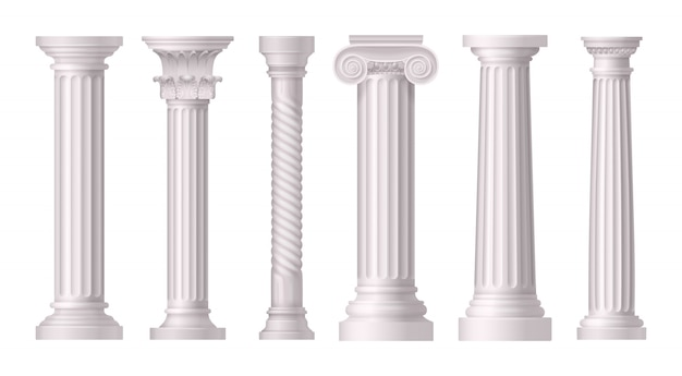 Antique white columns realistic set with different styles of greek architecture Free Vector