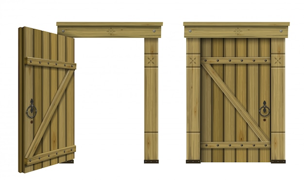 Antique wooden arched door fantasy Premium Vector