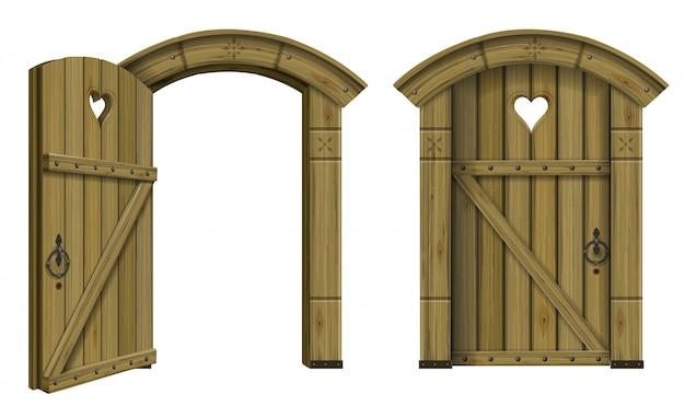 Antique wooden arched door fantasy Premium Vector