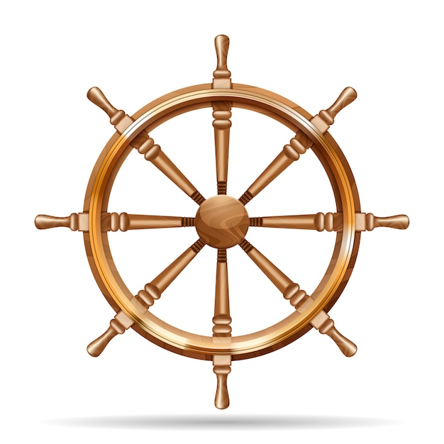 Antique wooden ship wheel Free Vector