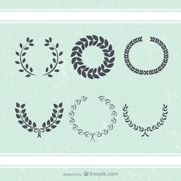 アンティーク花輪飾りベクトルを葉 Premiumベクター