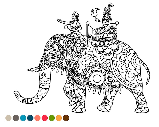 Antistress coloring page with maharaja on elephant Premium Vector