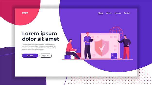 Antivirus and data safety landing page template Free Vector