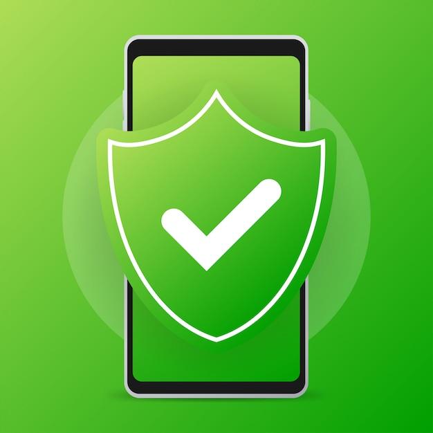 ウイルス対策モバイルスマートフォン。安全電話、セキュリティモバイルスマートフォン。 Premiumベクター