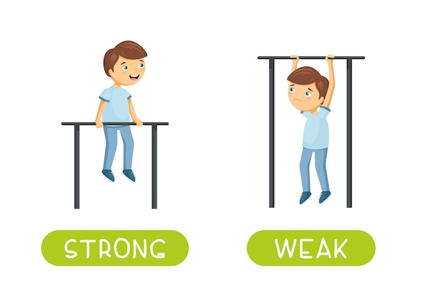 Antonyms and opposites. strong and weak. cartoon characters illustration. card for teaching, foreign language learning. Free Vector