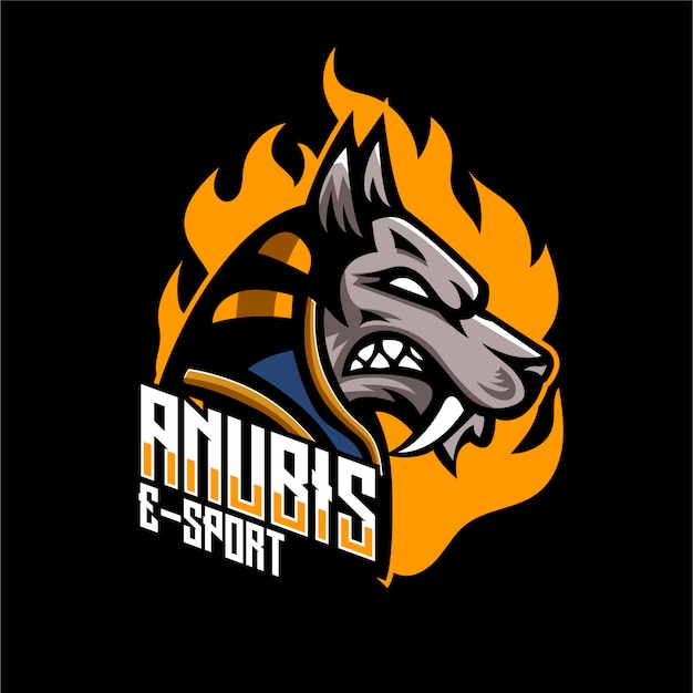 Логотип талисмана собаки анубиса Premium векторы
