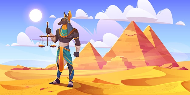 Anubis egyptian god, ancient egypt deity with human body and jackal head wearing royal pharaoh royal clothes holding scales with golden coins stand in desert with pyramids, cartoon vector illustration Free Vector