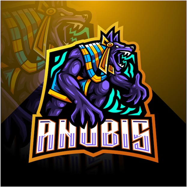 Шаблон логотипа талисмана anubis esport Premium векторы