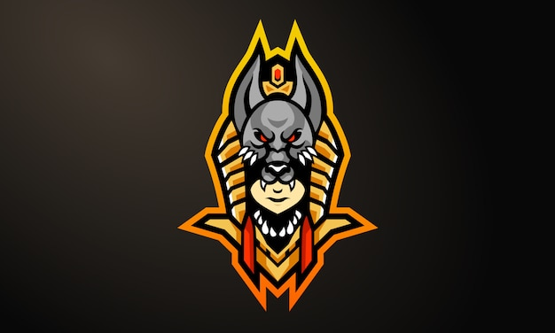 Anubis esports талисман логотип дизайн-01 Premium векторы