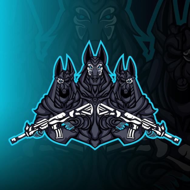 Анубис гвардии армия талисман логотип вектор Premium векторы