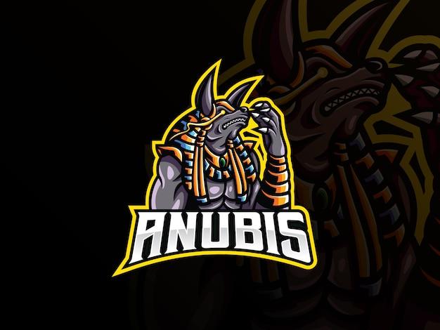 Anubis талисман спортивный дизайн логотипа Premium векторы