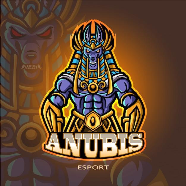 Anubis талисман киберспорт дизайн логотипа Premium векторы