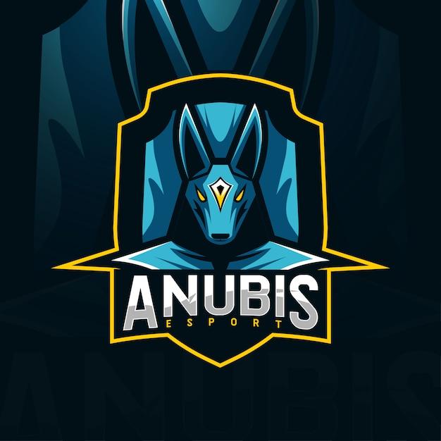 Anubis талисман логотип шаблоны киберспорта Premium векторы