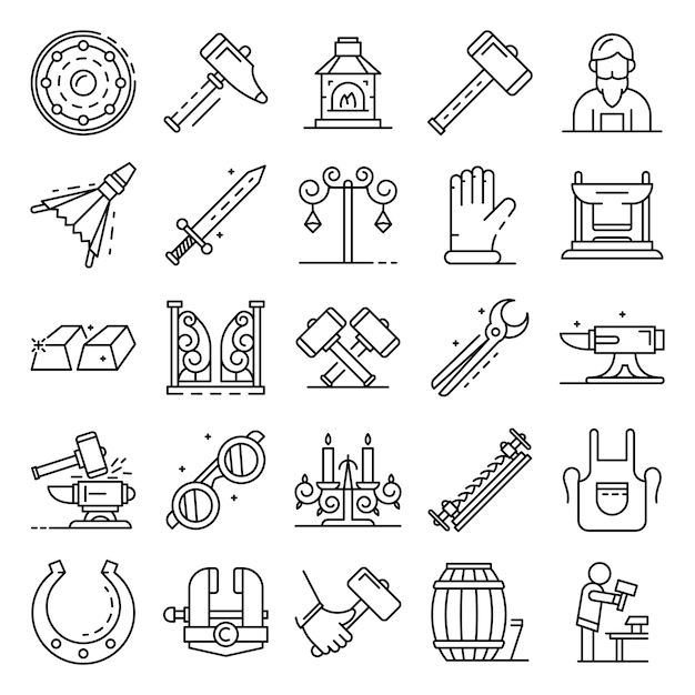 Anvil icon set. outline set of anvil vector icons Premium Vector
