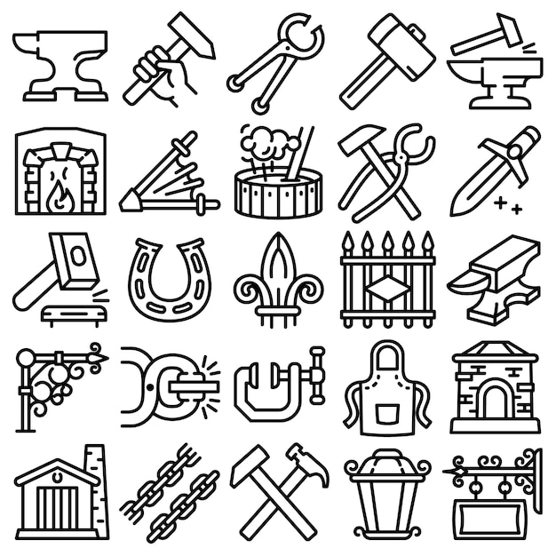 Anvil icons set. outline set of anvil vector icons isolated Premium Vector