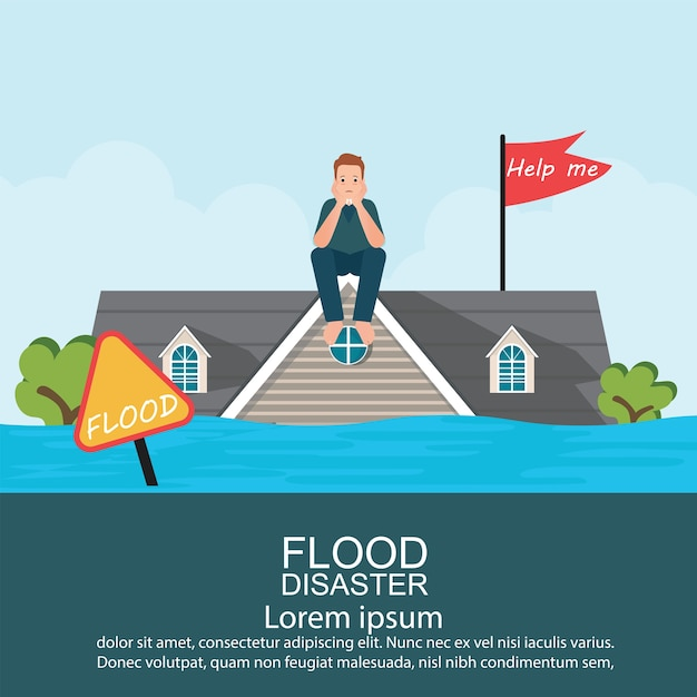 Anxious man sitting on roof of house after water flood . Premium Vector