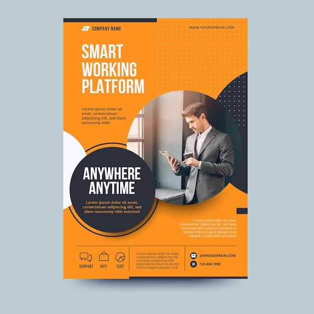 Anywhere anytime business flyer template Free Vector