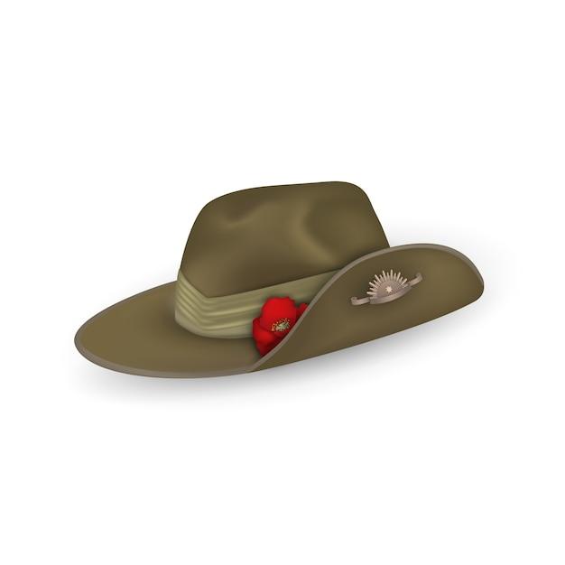 分離された赤いケシのアンザックオーストラリア軍前かがみ帽子。オーストラリア、ニュージーランドのアンザックデーまたは記念休戦の日のデザイン要素。 Premiumベクター