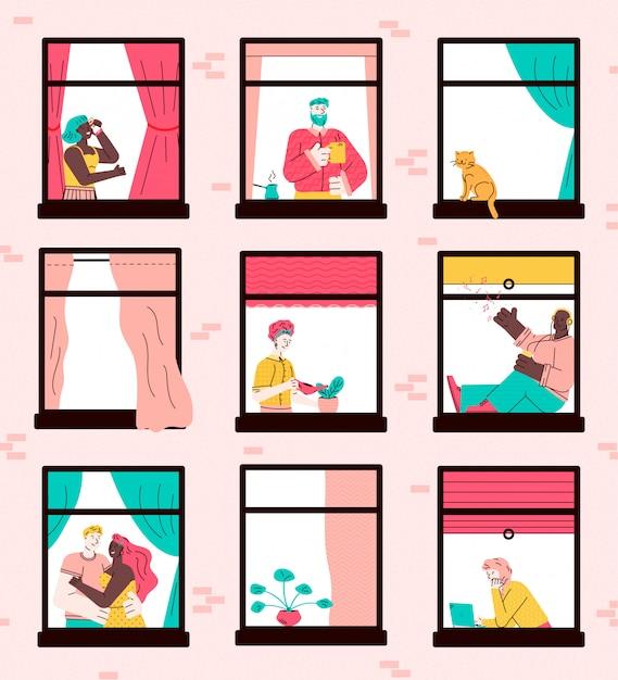 Apartment building window set with cartoon neighbor characters Premium Vector