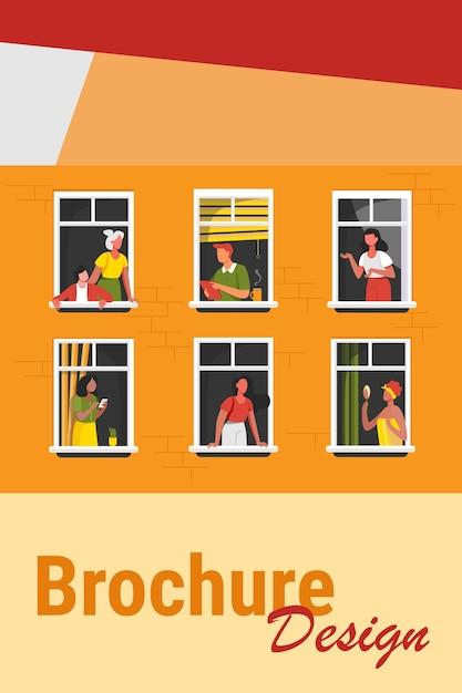 Condominio con persone in spazi aperti con finestre. i vicini bevono caffè, parlano, usano il cellulare. illustrazione vettoriale per blocco di appartamento, condominio, quartiere, comunità, concetto di amicizia casa Vettore gratuito
