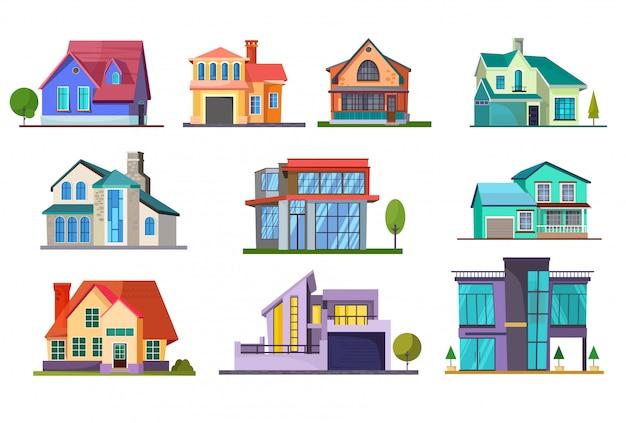 Жилой дом комплект Бесплатные векторы