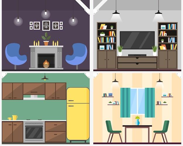 Apartment interior coworking vector illustration. Premium Vector