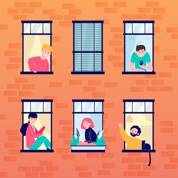 아파트 열린 창문과 이웃 무료 벡터