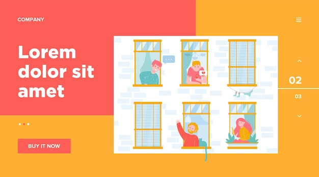 フレンドリーな隣人フラットイラストとアパートの開いた窓。 無料ベクター