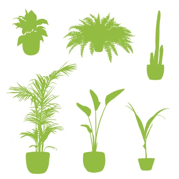 Apartment plants, silhouettes Free Vector