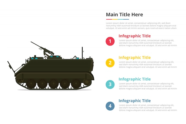 Apc personel army carrier infographics template with four points Premium Vector