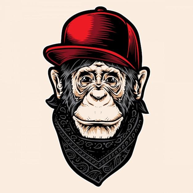 Ape with caps Premium Vector
