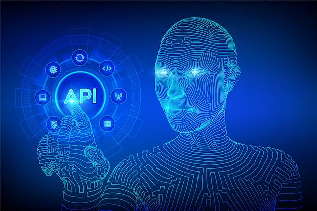 Api。仮想画面上のアプリケーションプログラミングインターフェイスの概念。デジタルインターフェイスに触れるワイヤーフレームのサイボーグ手。 Premiumベクター