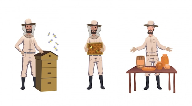 Apiculture and beekeeping. beekeeper, hiver harvesting honey, dealing with bee-house, selling home-m