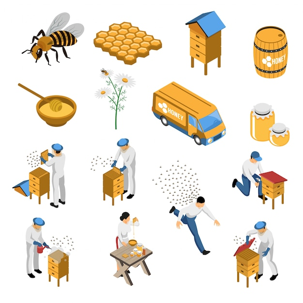 Apiculture isometric set with flowers and bees beekeeper near hive honey in various containers isolated Free Vector