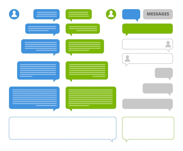App bubbles. chat client speech bubbles frames for mobile messenger social talk or sms sending  chatting blank boxes Premium Vector