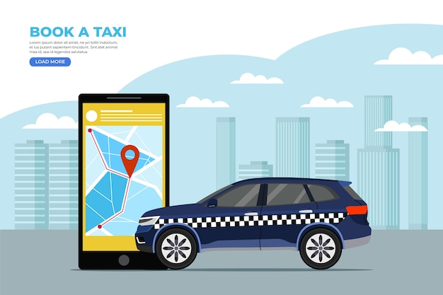 App concept for cab Premium Vector