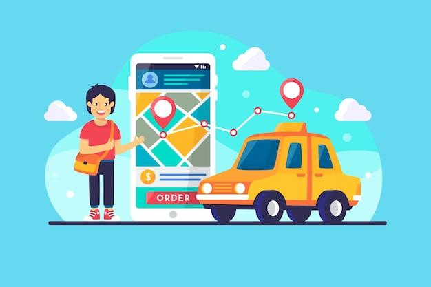App concept for taxi Premium Vector