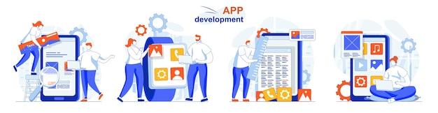 App development concept set creation app layout places of interface elements
