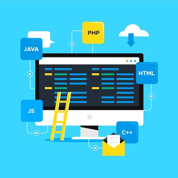 Concetto di sviluppo di app con desktop Vettore gratuito
