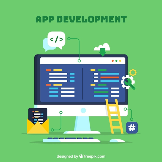 App development concept with flat design Free Vector