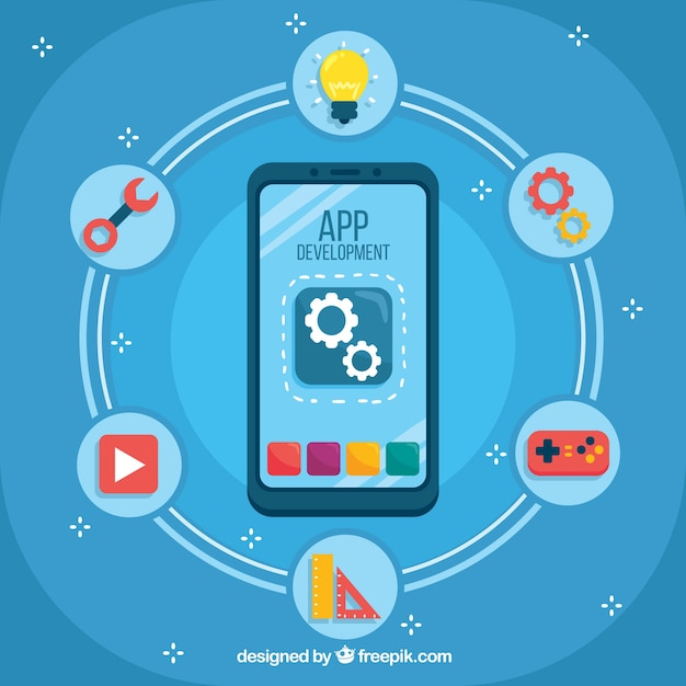 App development concept with flat design Free Vector