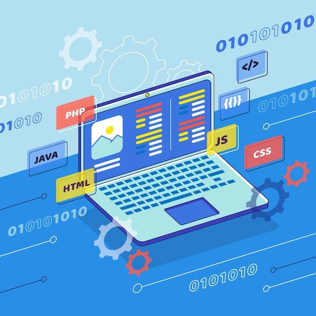 ノートパソコンでのアプリ開発コンセプト 無料ベクター