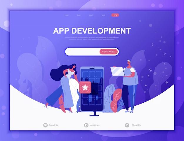 App development flat concept, landing page web template Premium Vector
