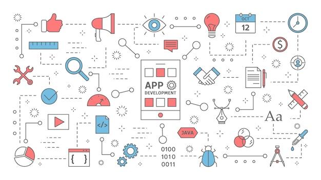 携帯電話のコンセプトのためのアプリ開発。スマートフォンのアプリケーションとプログラミング。応答性の高いインターフェース。現代のテクノロジー。カラフルな線アイコンのセットです。図 Premiumベクター