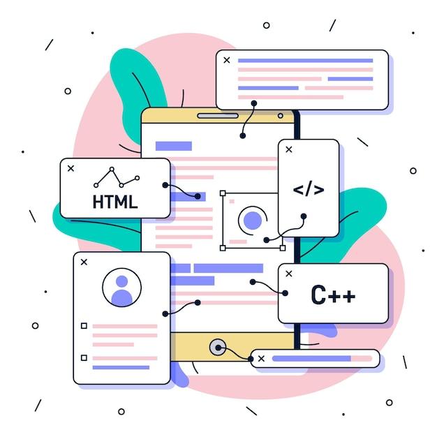 Иллюстрация разработки приложений Premium векторы