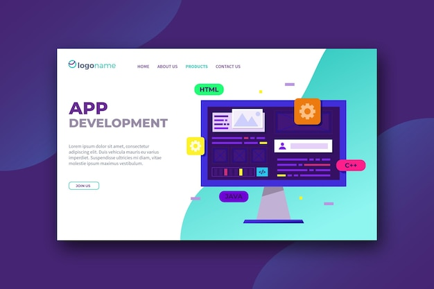 Modello di pagina di destinazione per lo sviluppo di app Vettore gratuito
